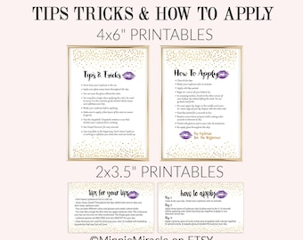 SeneGence Tips and Tricks, LipSense How To Apply Cards, LipSense Tips and Tricks, Lipsense Bundle, Senegence Cards Bundle, gold, purple lips