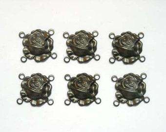 6 Gunmetal Rose Flower Connectors - 4-FL-1