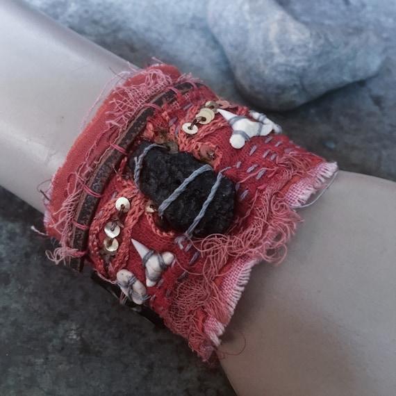 Tattered textile cuff with black tektite (size small) | embroidered cuff, red fabric cuff, gypsy textile cuff