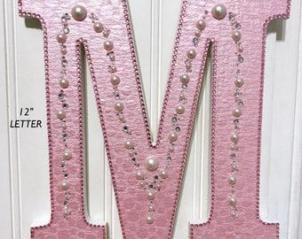 "Pink Wall Letter,12"" Wood Letter, Hanging LetterArt,Decorated Letter,Girl Birthday Gift,Baby Letter,Nursery Decor,Girls Room,Dorm Decor"