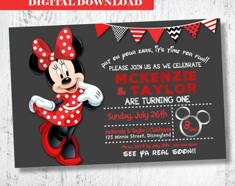 Minnie Mouse Invitation. Red Minnie Mouse Birthday Invitation.Twins Minnie Mouse Invitation. Sister Minnie Mouse Invite. Minnie Mouse Twins
