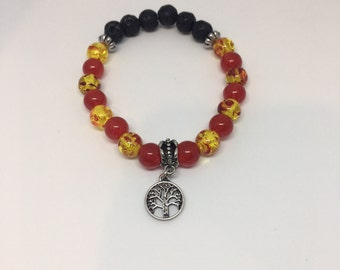 Adult Red Tree of Life Chakra Bead and Lava Rock Bracelet