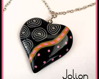 Heart pendant of polymer clay