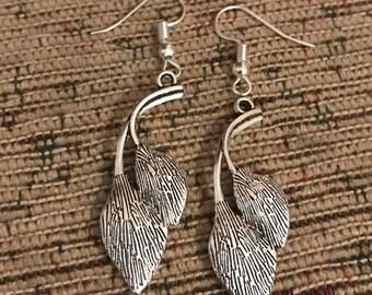 Leaves silver dangly earrings