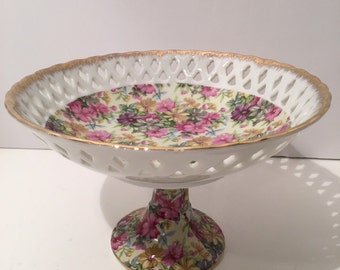Porcelain Compote Bowl Trimmed Gold Cut Out Edging Floral Candy Dish