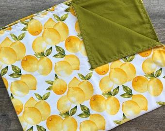 Lemons Baby Blanket - Swaddle Blanket - Stroller Blanket - Baby bedding - Nursery Bedding  - Newborn Blanket - Baby girl - Baby gift