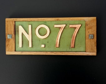 """Mission Mackintosh Custom House plaque 3""""/75mm, 4""""/100mm. high   2 x nos, in copper with oak frame, g"""