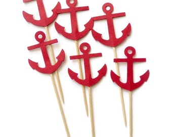 24  Red Anchor Cupcake Toppers, Food Picks or CHOOSE YOUR COLORS - Set of 24 pcs