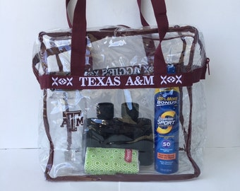 Texas A&M Maroon Clear Embroidered Stadium Bag Tote Purse