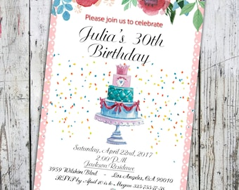 Birthday Invitation Template, Adult Birthday Invitation, Floral,  Adult Birthday Watercolor, Birthday Party Invites