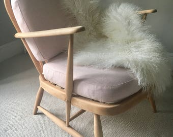 Stunning ercol armchair, baby pink, blush pink, retro, vintage, mid century , original ercol, upholstered,  pair of chairs available, girls