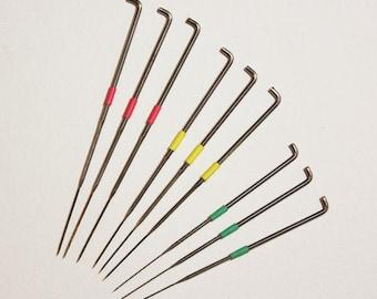 Set of 9 star felting needles, rainbow colour coded, 36, 38, 40 gauge - wool roving - needle felting - merino wool - yarn
