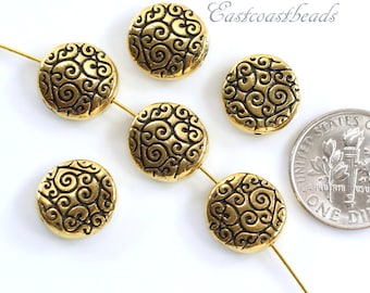 Round Scroll Beads, TierraCast Beads, Jewelry Findings, Gold Scroll Beads, Antique Gold Plated Lead Free Pewter, 6 Pieces, 7126