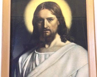 Rare Dark Litho Jesus Christ- Piercing Eyes- Detail with Illusion of Following Eyes- Framed