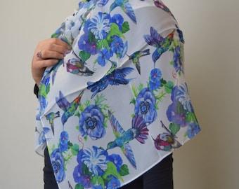Blue Hummingbirds on White 100% Silk Scarf, Chiffon Scarf, Shawl, Sheer Wrap, Art Scarf, Wearable Art