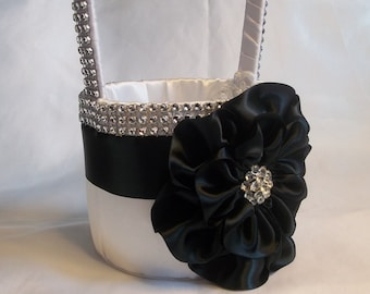 Black & White Flower Girl Basket with Rhinestone Mesh handle and Trim, Lots of Bling, Made to Order Custom