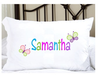 Personalized Pillow Case for Girls with Butterflies