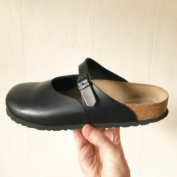 Birkenstock Rosemead Hunter Black leather clog - unisex slip on mule - Euro 42 - Ladies 11 - Men's 9 - smooth flat - Made in Germany