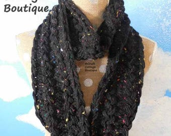 Infinity Scarf - READY to SHIP Heather Black with Rainbow Flecks - Extra Long - Circle Scarf - Fashion -Lace Scarf -Scarves -
