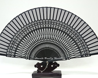 Hand Fan Folding Fan, Silk Cloth Black colored bamboo art work pattern bamboos , Kimono Sensu, wedding fan