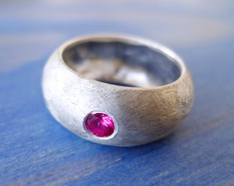 Indian Ruby. Incredible Chunky Hand Made Wide Silver Ring With A Powerful Red Ruby. Alternative Engagement Ring. Statement Recycled Ring.