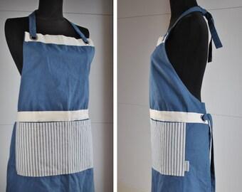 Vintage Inspired Blue Canvas Ticking Apron Pocket / Men Women One Size Fits All / Gift Cooking Chef Restaurant Utility Studio Workshop Apron