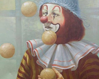 Old Vintage Original Portrait Oil Painting Circus Clown Juggling Artist Signed