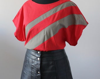 Vintage 1980s Batwing Blouse, 80s RETRO Top, Casual New Wave Sporty Top, UK M Medium 14