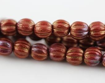 Bronze Luster Iris-Opaque Red : 5mm Melon, Round Czech Glass Bead (50)
