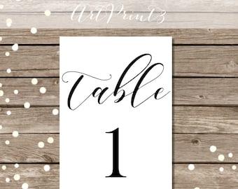 Printable Wedding Table Numbers 1 - 30, Printable Table Numbers, Tabletop Numbers Printable, Reception Table Numbers, Black Table Numbers