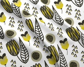 Yellow Tulip Fabric - Modern Tulip By Kellyparkersmith- Spring Floral Yellow Gray Black White Cotton Fabric By The Yard With Spoonflower