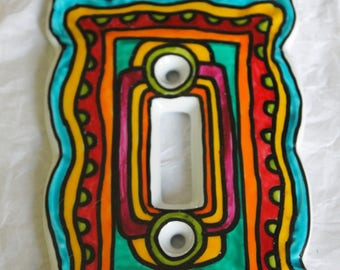 Scalloped edge whimsical FRAMED switch plate