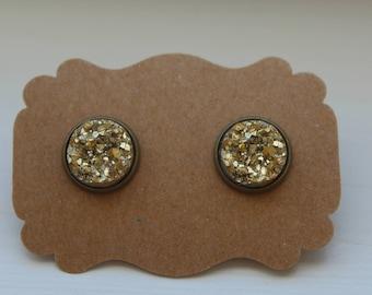 Gold Druzy Earrings, Gold Earrings, Drusy Earrings, 12mm Gold Post, Gold Brass Druzy, Gold Druzy Post, Gold Druzy Earring, Stud Earring