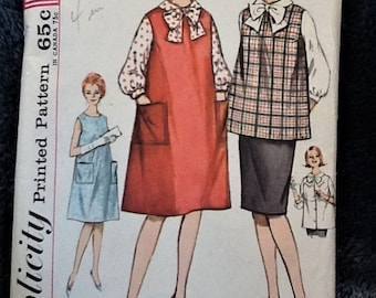 Vintage 1960s Maternity Pattern Simplicity 4641 Maternity Skirt/Blouse/Top/Jumper/Dress