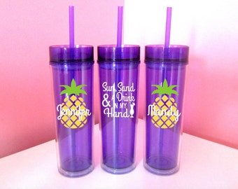 Sun Sand Drink my Hand Pineapple/Ring/Cup/Skinny Name Tumbler/Inexpensive/Cheap/Tall/Summer/Girl's/Beach cup/Pool/bridal party gift/cruise