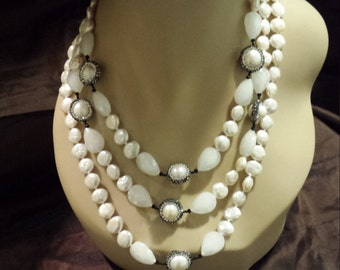 Three strand fresh water pearl, black onyx and opulite necklace