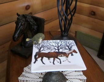 Horses in Snow Plate Bird Dessert/Candy Dish
