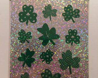 Vintage St. Patrick's Day Hallmark Stickers Shamrocks Iridescent 1980s