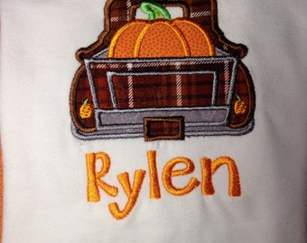 Back of old pickup shirt, thanksgiving shirt, Pumpkin Truck Shirt, Thanksgiving Shirt, Fall Embroidered Shirt Personalized