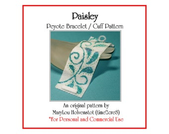 Peyote Bracelet Pattern ... PAISLEY ... Beadwoven Cuff . Whimsical . Swirly . Leaves . Classic . Elegant . Wide Cuff . Teardrop . 3 for 2