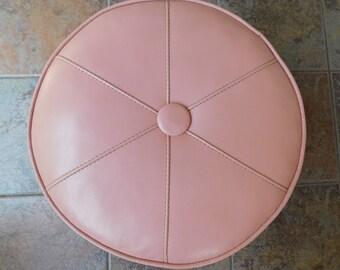 Vintage Pink Footstool with Wheels, Wheeled Round Vinyl Footstool, Light Pink Vinyl Ottoman, Living Room Furniture, Hassock, Foot Rest