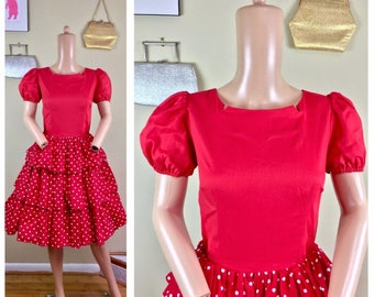 Vintage 80s does 50s Square Dance Circle Skirt Pin Up Rockabilly Polka Dot Dress M
