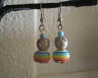 Striped beads earrings