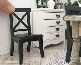 Miniature black cross back chair - Dollhouse - Roombox - Diorama - 1:12 scale