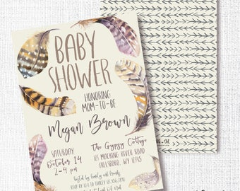 Boho Feathers Baby Shower Invitation, Printable, Fall Baby Shower, Sprinkle, Sip and See, Autumn, Rustic, Neutral, Natural, Bohemian