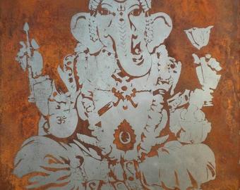 Ganesha - etched in steel