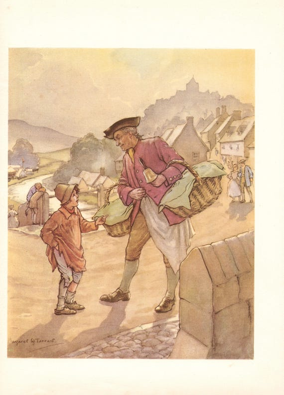 """Illustration of nursery rhyme """"Simple Simon"""" by Margaret Tarrant, 12 x 9 inches, 1950 book illustration"""