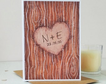 Romantic Tree Carving Personalised Valentine's Card - Carved Initials