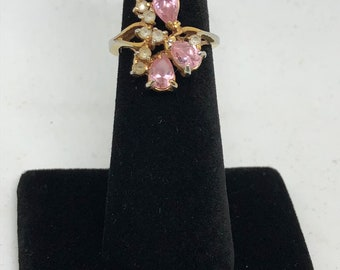 Vintage Pink Topaz and C.Z. Ring, Sz 5