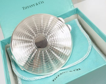 RARE Vintage Tiffany & Co Sterling Silver Double-Sided Magnifying Purse Compact Makeup Mirror